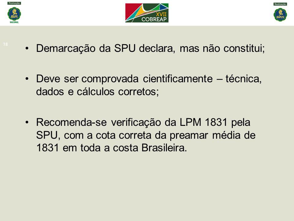 38 Demarcação da SPU declara, mas não constitui; Deve ser comprovada cientificamente – técnica, dados e cálculos corretos; Recomenda-se verificação da