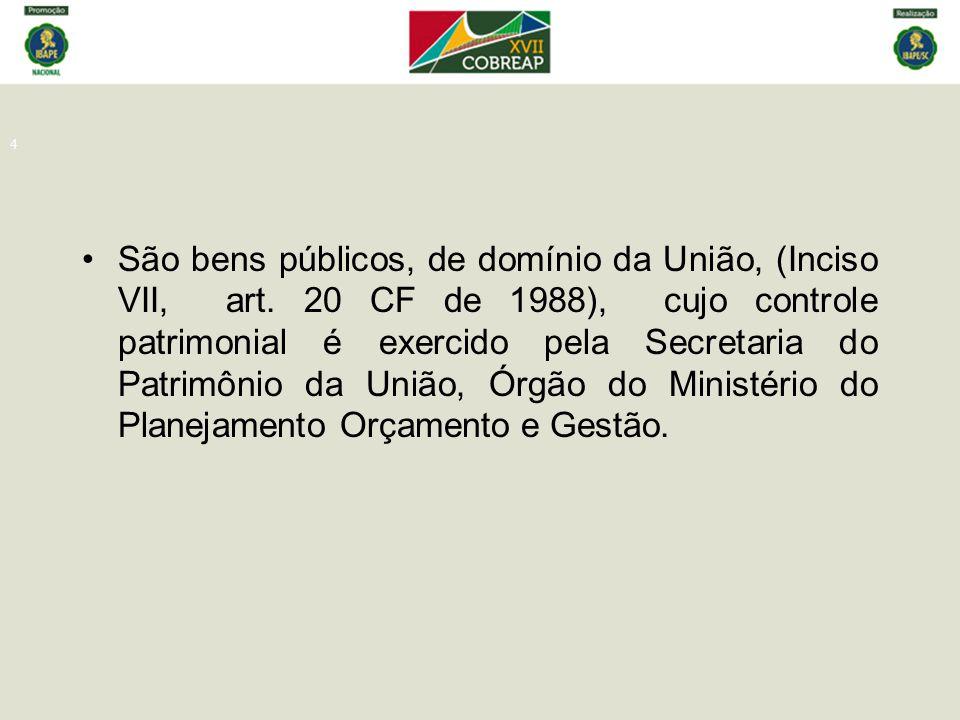 4 São bens públicos, de domínio da União, (Inciso VII, art. 20 CF de 1988), cujo controle patrimonial é exercido pela Secretaria do Patrimônio da Uniã