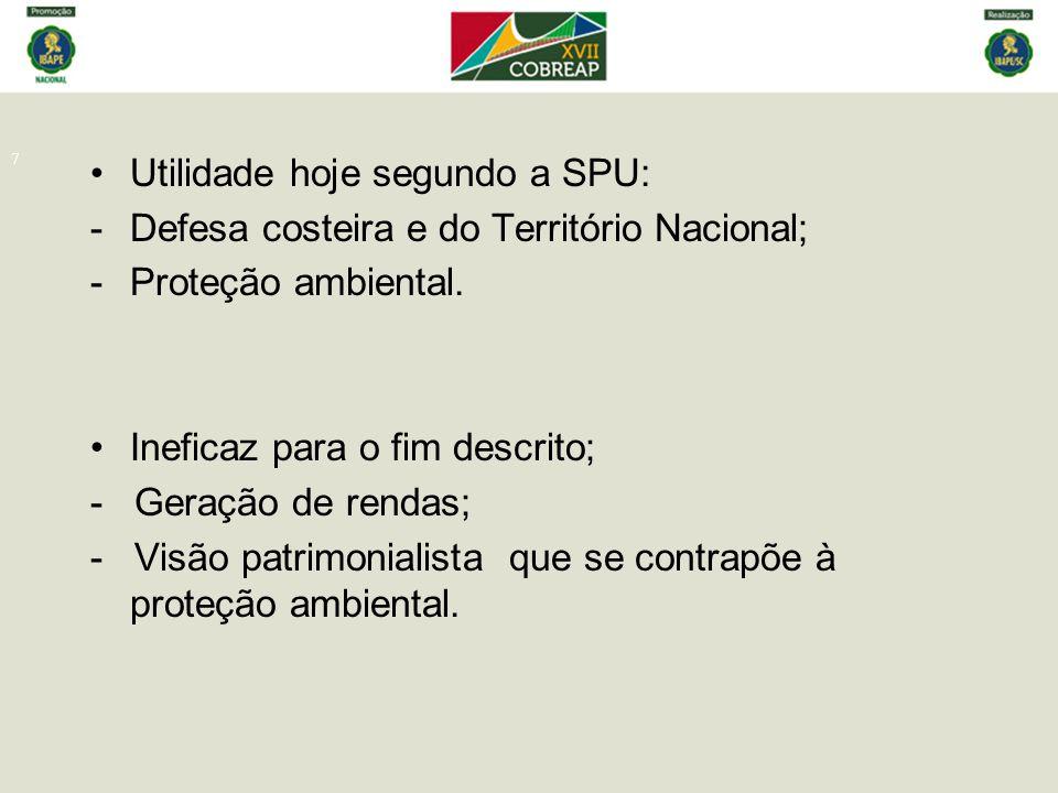 7 Utilidade hoje segundo a SPU: -Defesa costeira e do Território Nacional; -Proteção ambiental. Ineficaz para o fim descrito; - Geração de rendas; - V