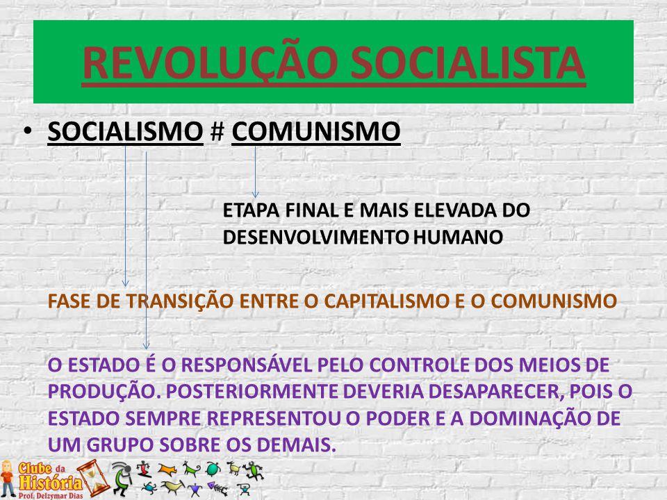 REVOLUÇÃO SOCIALISTA SOCIALISMO # COMUNISMO ETAPA FINAL E MAIS ELEVADA DO DESENVOLVIMENTO HUMANO FASE DE TRANSIÇÃO ENTRE O CAPITALISMO E O COMUNISMO O