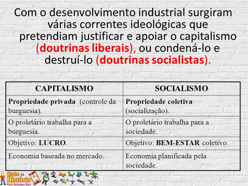 Com o desenvolvimento industrial surgiram várias correntes ideológicas que pretendiam justificar e apoiar o capitalismo (doutrinas liberais), ou conde