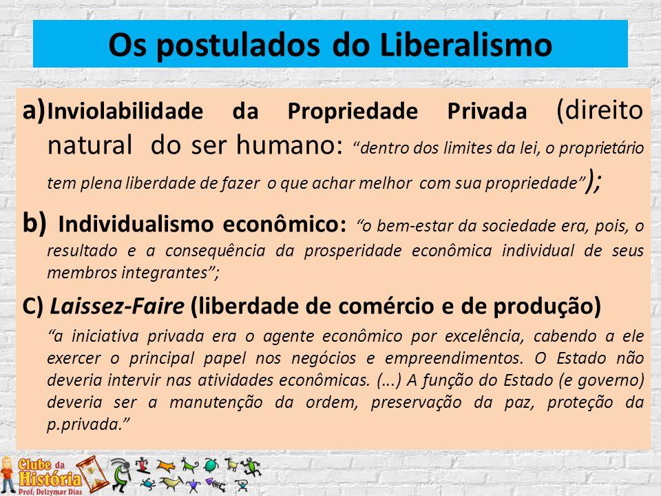 """Os postulados do Liberalismo a) Inviolabilidade da Propriedade Privada (direito natural do ser humano: """"dentro dos limites da lei, o proprietário tem"""