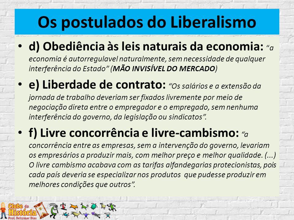 """Os postulados do Liberalismo d) Obediência às leis naturais da economia: """"a economia é autorregulavel naturalmente, sem necessidade de qualquer interf"""
