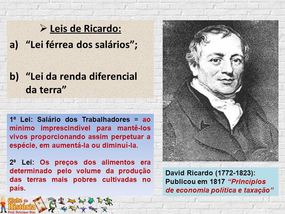 " Leis de Ricardo: a)""Lei férrea dos salários""; b) ""Lei da renda diferencial da terra"" David Ricardo (1772-1823): Publicou em 1817 ""Princípios de econ"