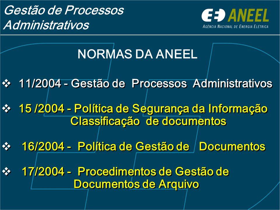  11/2004 - Gestão de Processos Administrativos  15 /2004 - Política de Segurança da Informação Classificação de documentos  16/2004 - Política de Gestão de Documentos  17/2004 - Procedimentos de Gestão de Documentos de Arquivo  11/2004 - Gestão de Processos Administrativos  15 /2004 - Política de Segurança da Informação Classificação de documentos  16/2004 - Política de Gestão de Documentos  17/2004 - Procedimentos de Gestão de Documentos de Arquivo NORMAS DA ANEEL Gestão de Processos Administrativos
