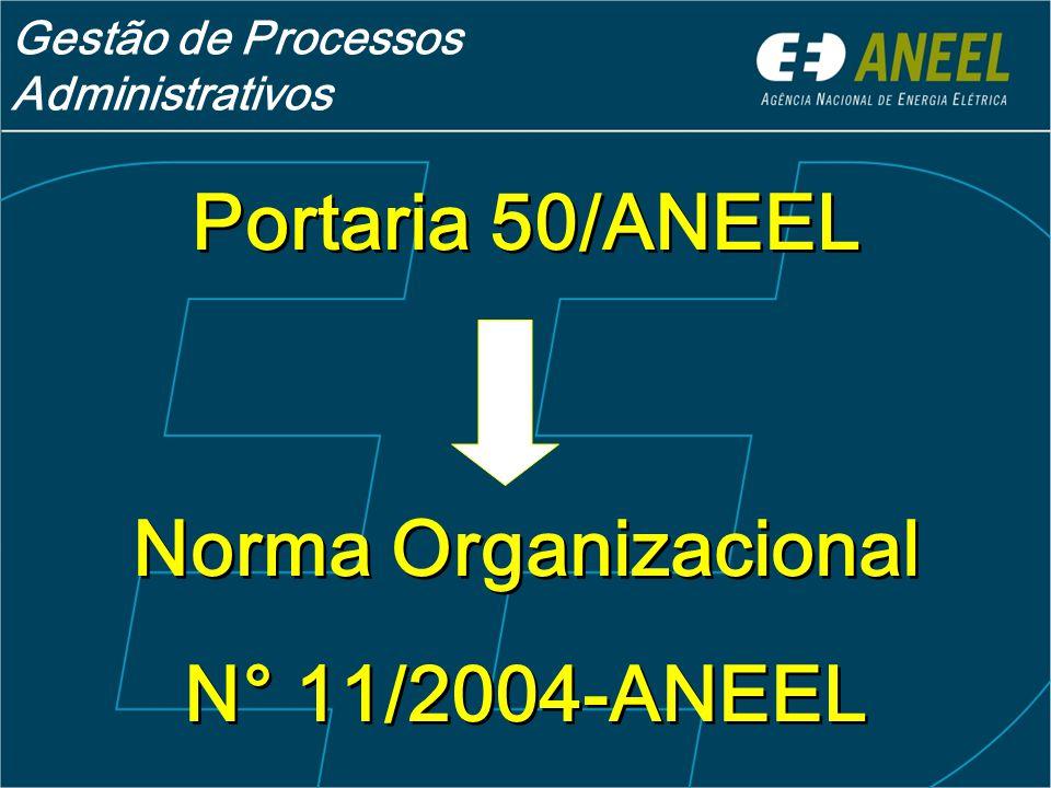 Portaria 50/ANEEL Norma Organizacional N° 11/2004-ANEEL Portaria 50/ANEEL Norma Organizacional N° 11/2004-ANEEL Gestão de Processos Administrativos