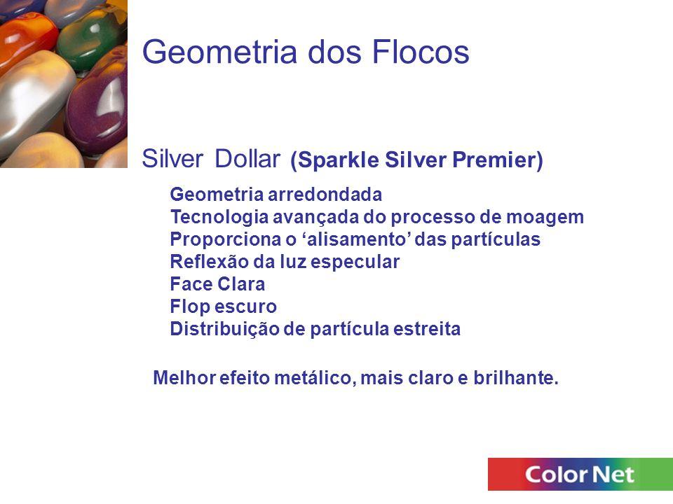 Geometria dos Flocos Silver Dollar (Sparkle Silver Premier) Geometria arredondada Tecnologia avançada do processo de moagem Proporciona o 'alisamento'