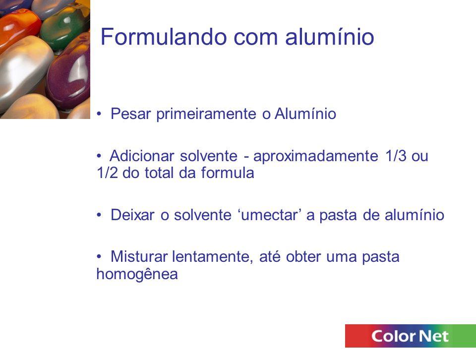 Formulando com alumínio Pesar primeiramente o Alumínio Adicionar solvente - aproximadamente 1/3 ou 1/2 do total da formula Deixar o solvente 'umectar'