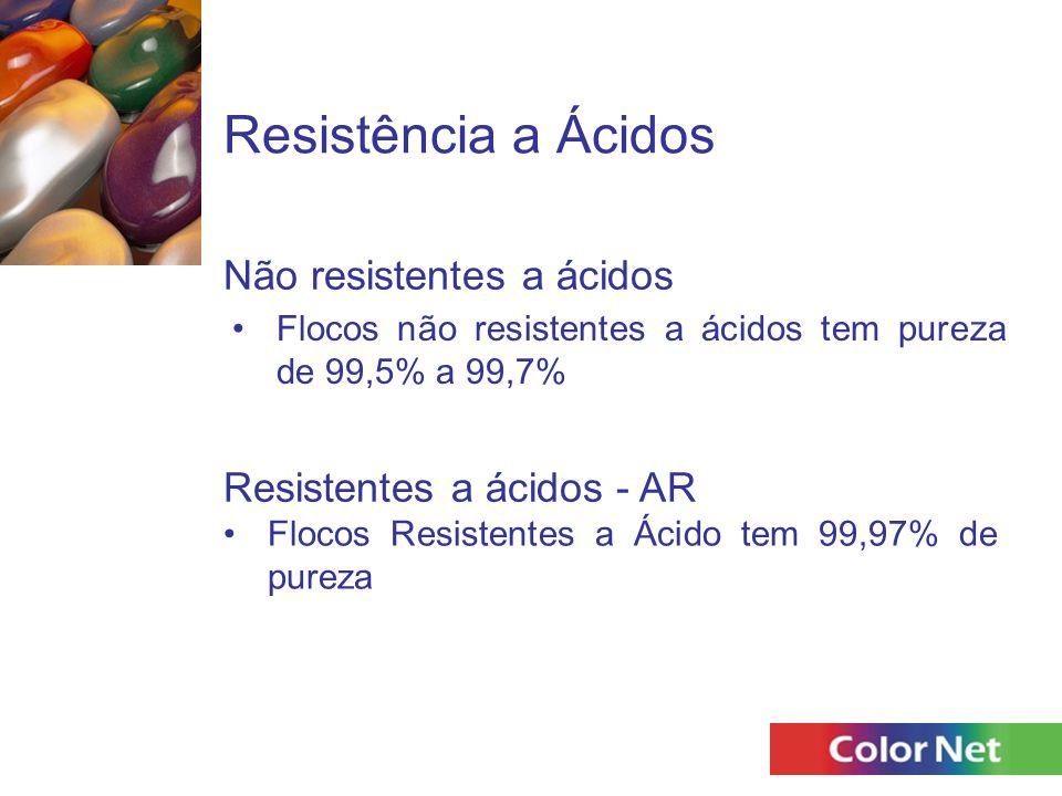Resistência a Ácidos Flocos não resistentes a ácidos tem pureza de 99,5% a 99,7% Não resistentes a ácidos Resistentes a ácidos - AR Flocos Resistentes