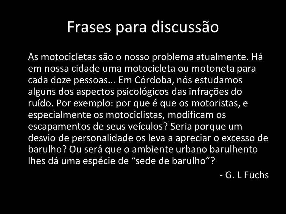 Frases para discussão As motocicletas são o nosso problema atualmente. Há em nossa cidade uma motocicleta ou motoneta para cada doze pessoas... Em Cór