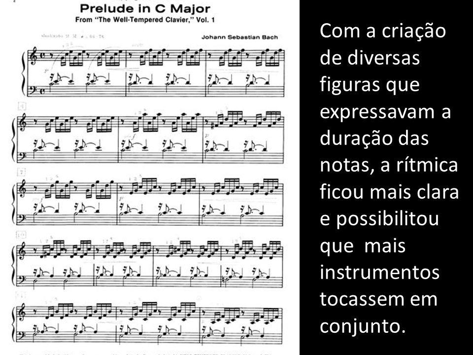 Com a criação de diversas figuras que expressavam a duração das notas, a rítmica ficou mais clara e possibilitou que mais instrumentos tocassem em conjunto.
