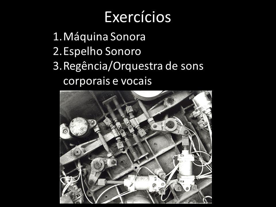 Exercícios 1.Máquina Sonora 2.Espelho Sonoro 3.Regência/Orquestra de sons corporais e vocais