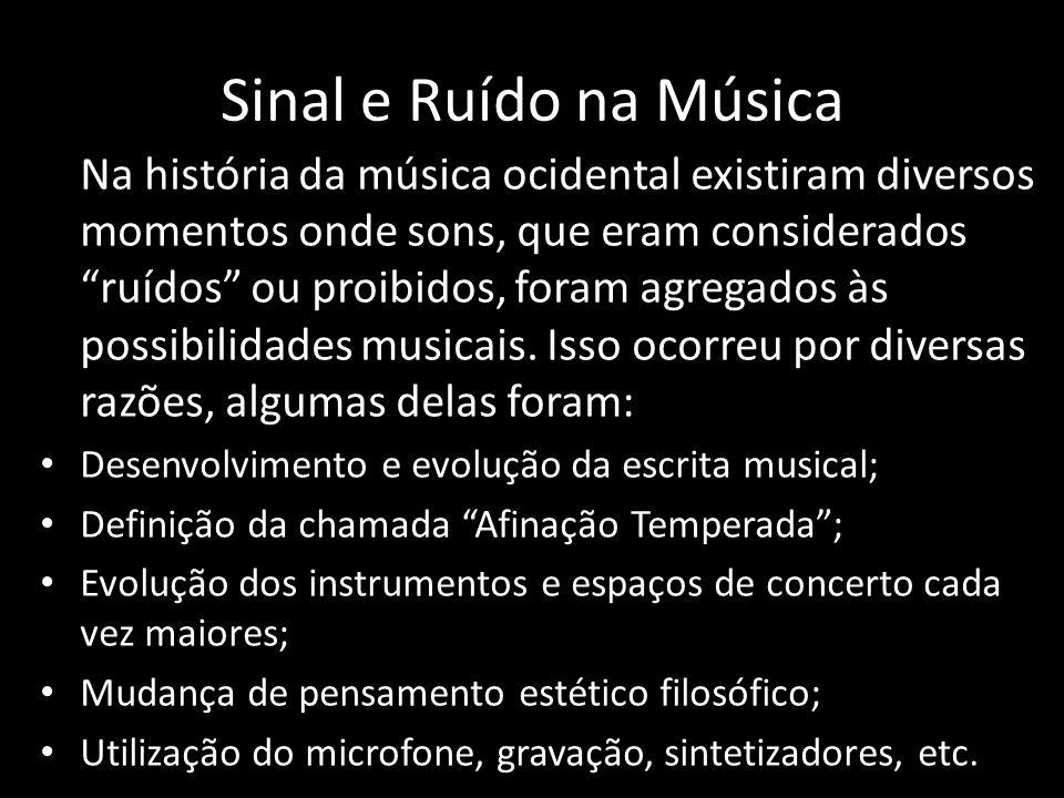 Sinal e Ruído na Música Na história da música ocidental existiram diversos momentos onde sons, que eram considerados ruídos ou proibidos, foram agregados às possibilidades musicais.