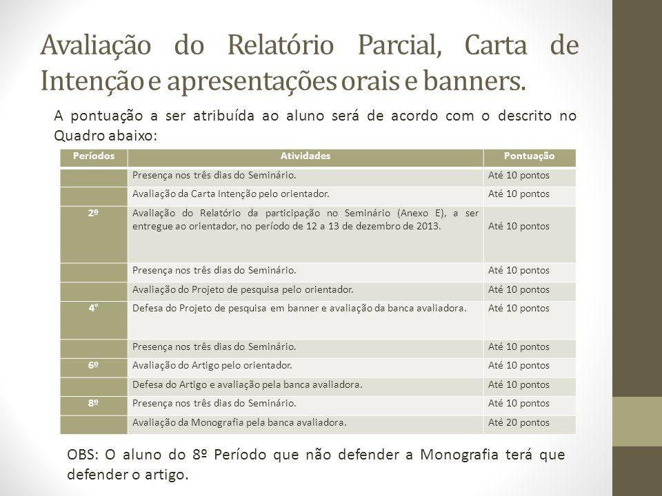 Avaliação do Relatório Parcial, Carta de Intenção e apresentações orais e banners.