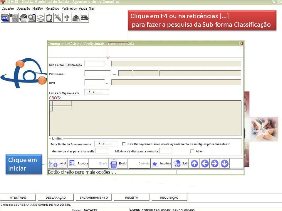 Clique em Iniciar Clique em Iniciar Clique em F4 ou na reticências [...] para fazer a pesquisa da Sub-forma Classificação Clique em F4 ou na reticências [...] para fazer a pesquisa da Sub-forma Classificação