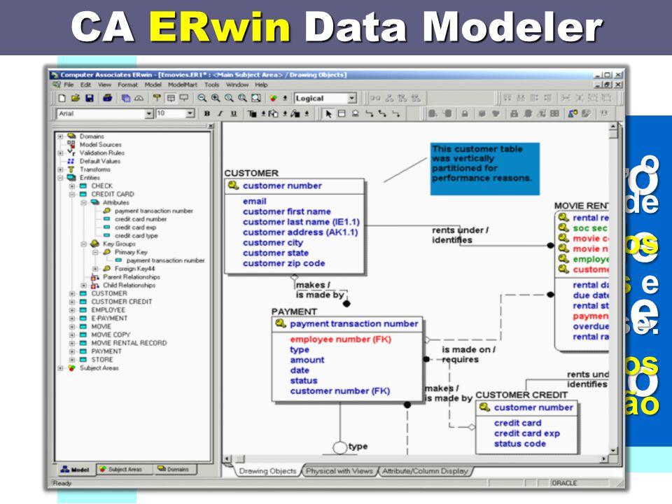 CA ERwin Data Modeler software utilizado para a modelação de sistemas de informação Através desta ferramenta, o desenvolvedor de um sistema de informação pode especificar os dados envolvidos, as suas relações e os requisitos de análise.
