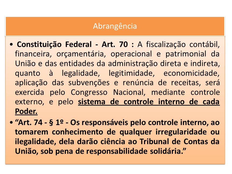 Abrangência Constituição Federal - Art. 70 : A fiscalização contábil, financeira, orçamentária, operacional e patrimonial da União e das entidades da