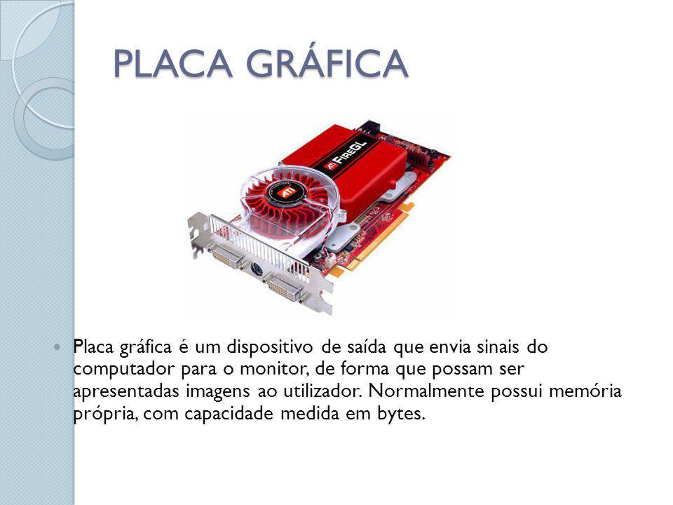 PLACA GRÁFICA Placa gráfica é um dispositivo de saída que envia sinais do computador para o monitor, de forma que possam ser apresentadas imagens ao u