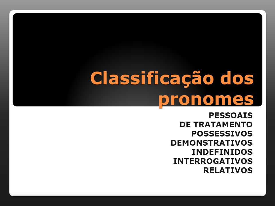 Classificação dos pronomes PESSOAIS DE TRATAMENTO POSSESSIVOS DEMONSTRATIVOS INDEFINIDOS INTERROGATIVOS RELATIVOS