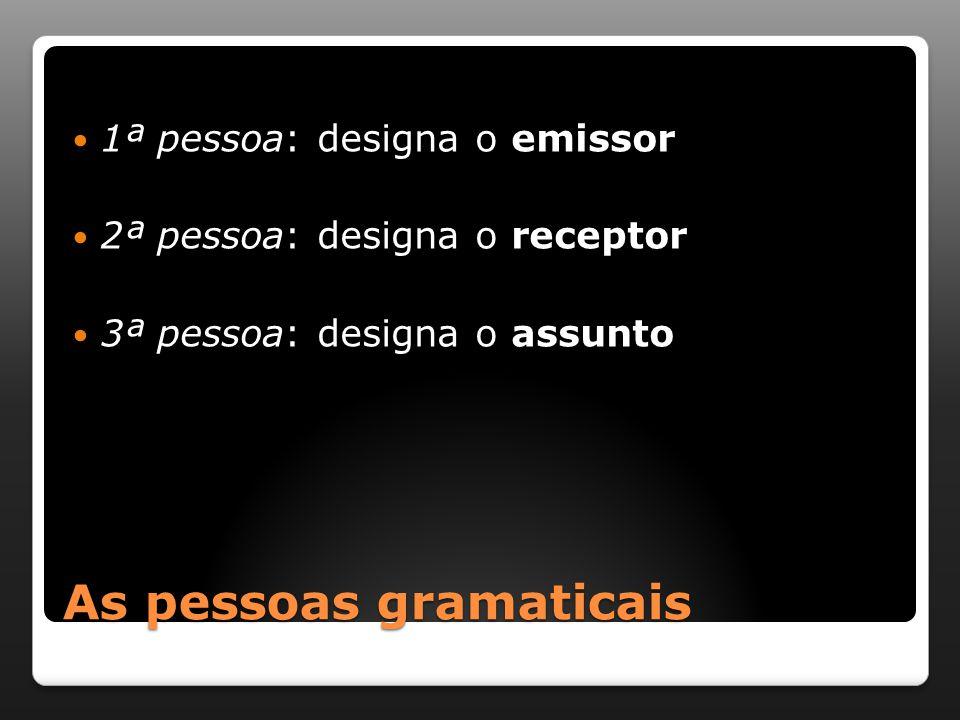 As pessoas gramaticais 1ª pessoa: designa o emissor 2ª pessoa: designa o receptor 3ª pessoa: designa o assunto