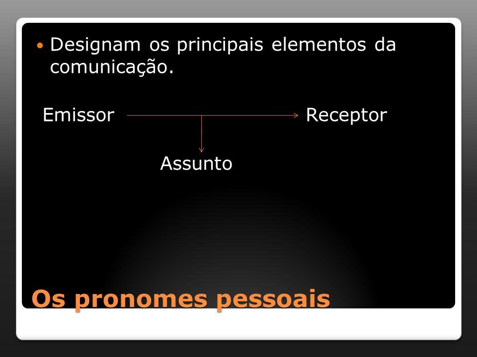 Os pronomes pessoais Designam os principais elementos da comunicação. Emissor Receptor Assunto