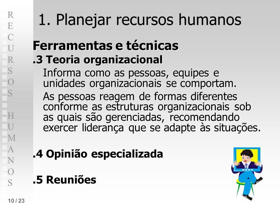 RECURSOS HUMANOSRECURSOS HUMANOS 10 / 23 1. Planejar recursos humanos Ferramentas e técnicas.3 Teoria organizacional Informa como as pessoas, equipes
