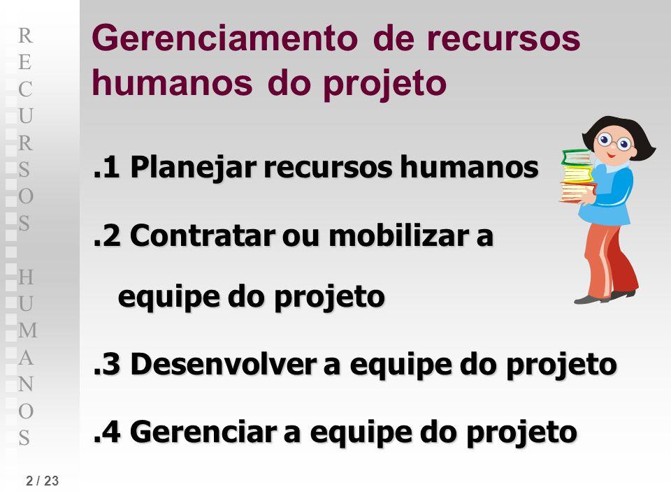 RECURSOS HUMANOSRECURSOS HUMANOS 2 / 23 Gerenciamento de recursos humanos do projeto.1 Planejar recursos humanos.2 Contratar ou mobilizar a equipe do