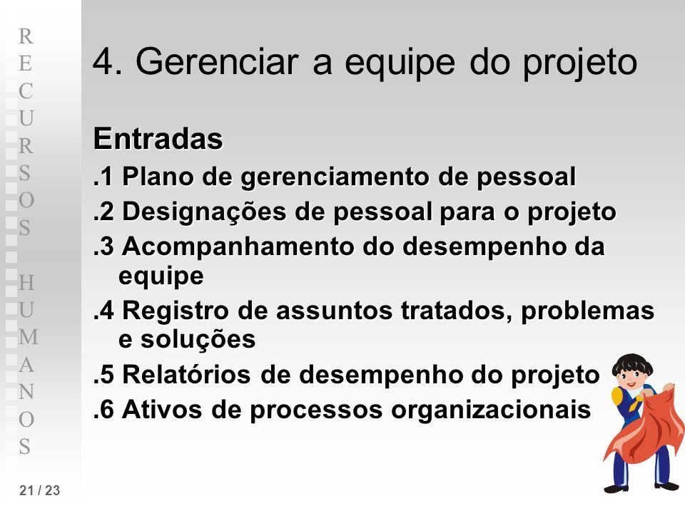RECURSOS HUMANOSRECURSOS HUMANOS 21 / 23 4. Gerenciar a equipe do projeto Entradas.1 Plano de gerenciamento de pessoal.2 Designações de pessoal para o