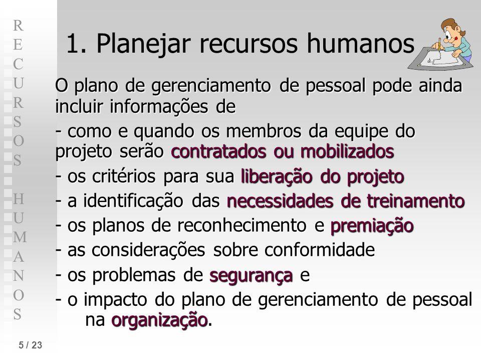 RECURSOS HUMANOSRECURSOS HUMANOS 5 / 23 1. Planejar recursos humanos O plano de gerenciamento de pessoal pode ainda incluir informações de - como e qu