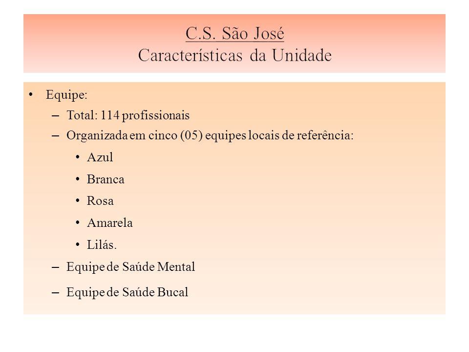 Equipe: – Total: 114 profissionais – Organizada em cinco (05) equipes locais de referência: Azul Branca Rosa Amarela Lilás.