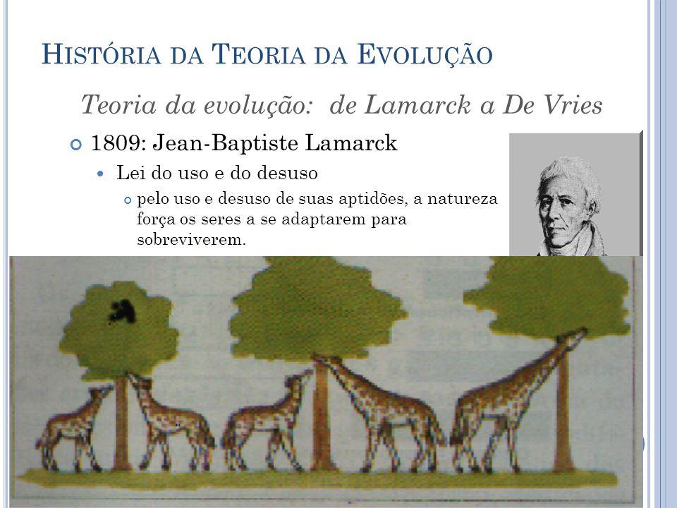 H ISTÓRIA DA T EORIA DA E VOLUÇÃO 1809: Jean-Baptiste Lamarck Lei do uso e do desuso pelo uso e desuso de suas aptidões, a natureza força os seres a se adaptarem para sobreviverem.