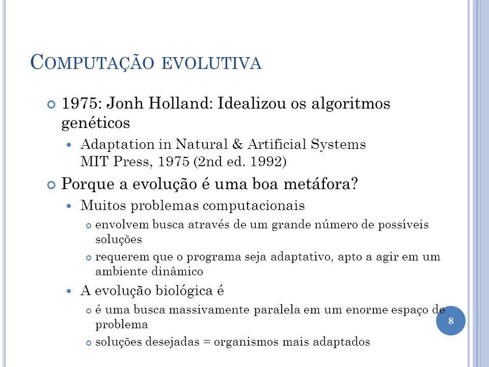 C OMPUTAÇÃO EVOLUTIVA 1975: Jonh Holland: Idealizou os algoritmos genéticos Adaptation in Natural & Artificial Systems MIT Press, 1975 (2nd ed.