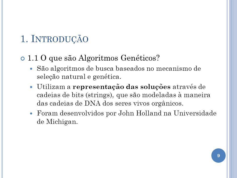1.I NTRODUÇÃO 1.1 O que são Algoritmos Genéticos.