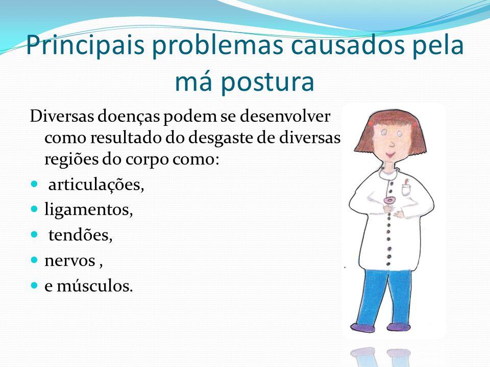 Principais problemas causados pela má postura Diversas doenças podem se desenvolver como resultado do desgaste de diversas regiões do corpo como: arti