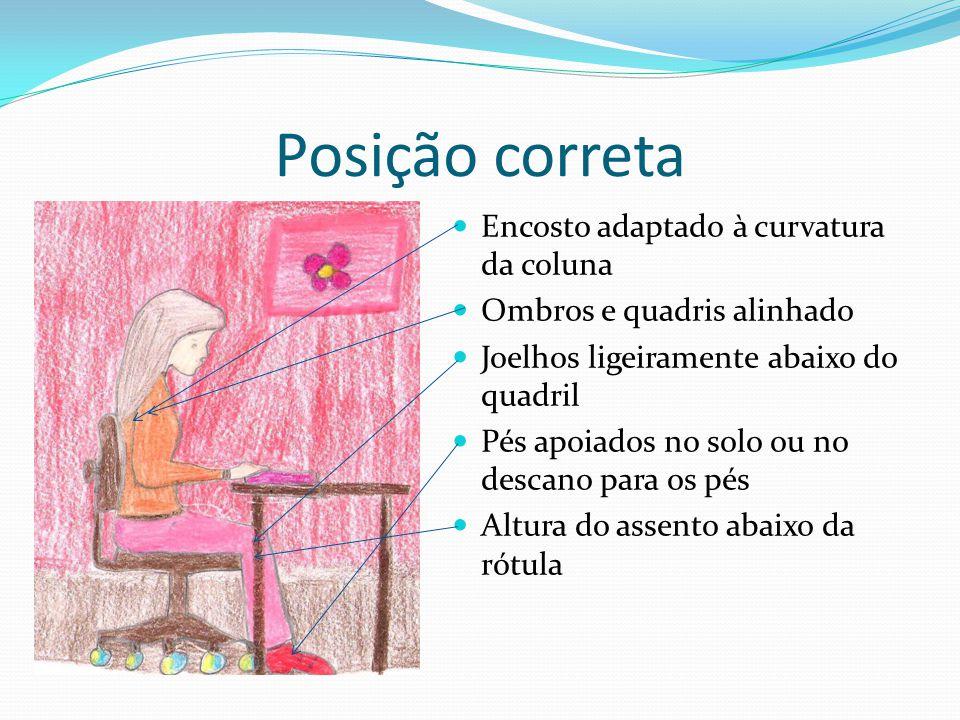 Posição correta Encosto adaptado à curvatura da coluna Ombros e quadris alinhado Joelhos ligeiramente abaixo do quadril Pés apoiados no solo ou no des