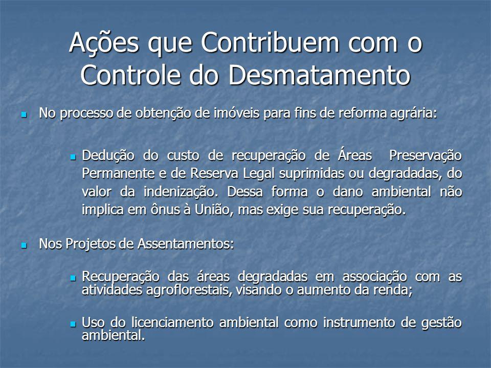 Ações que Contribuem com o Controle do Desmatamento No processo de obtenção de imóveis para fins de reforma agrária: No processo de obtenção de imóvei
