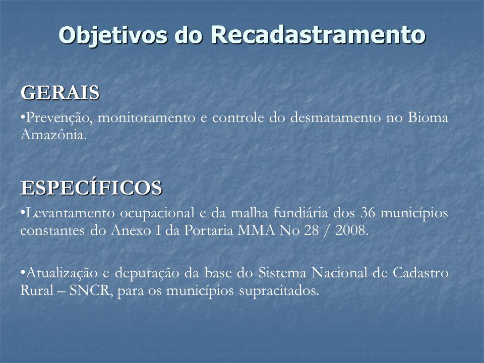 Objetivos do Recadastramento GERAIS Prevenção, monitoramento e controle do desmatamento no Bioma Amazônia.ESPECÍFICOS Levantamento ocupacional e da ma