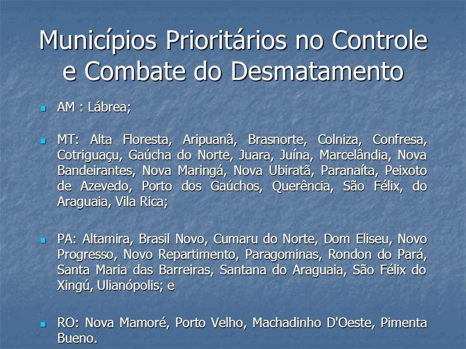 Municípios Prioritários no Controle e Combate do Desmatamento AM : Lábrea; AM : Lábrea; MT: Alta Floresta, Aripuanã, Brasnorte, Colniza, Confresa, Cot