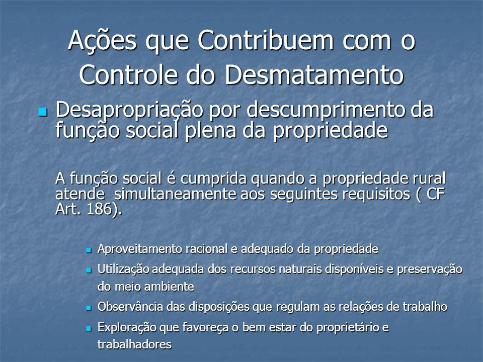 Ações que Contribuem com o Controle do Desmatamento Desapropriação por descumprimento da função social plena da propriedade Desapropriação por descump