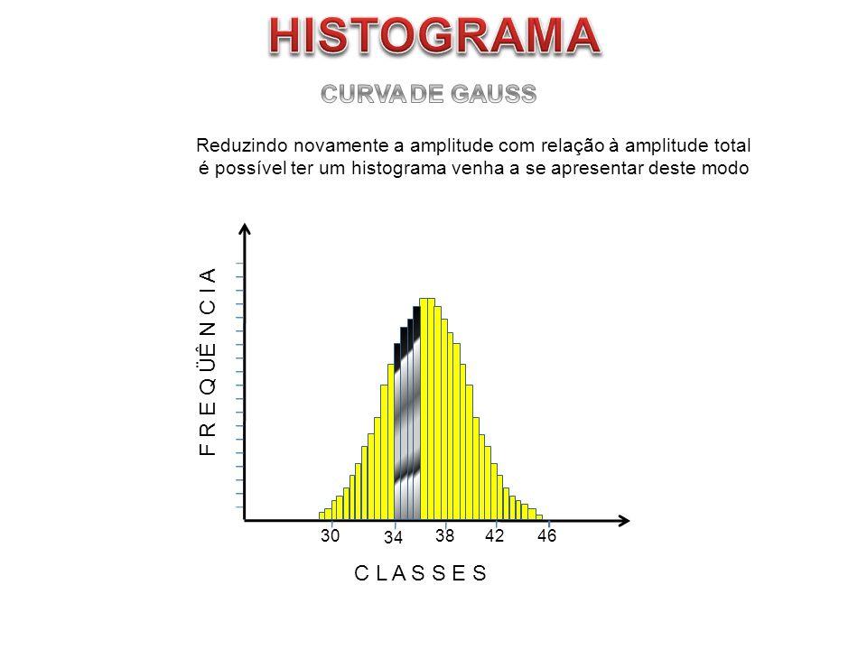 F R E Q ÜÊ N C I A C L A S S E S 304246 Reduzindo novamente a amplitude com relação à amplitude total é possível ter um histograma venha a se apresent