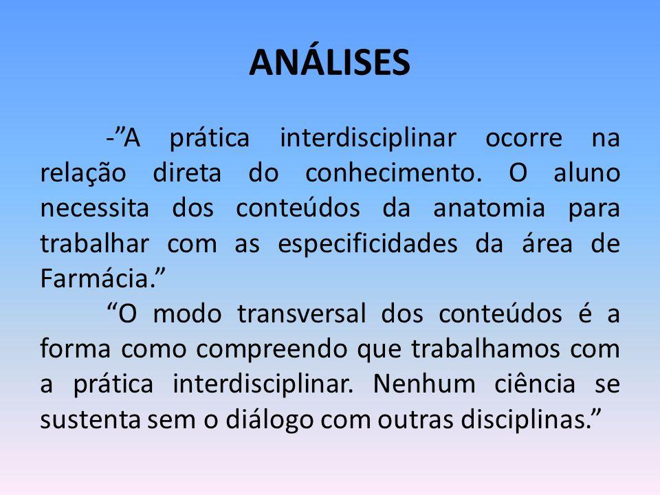 """ANÁLISES -""""A prática interdisciplinar ocorre na relação direta do conhecimento. O aluno necessita dos conteúdos da anatomia para trabalhar com as espe"""