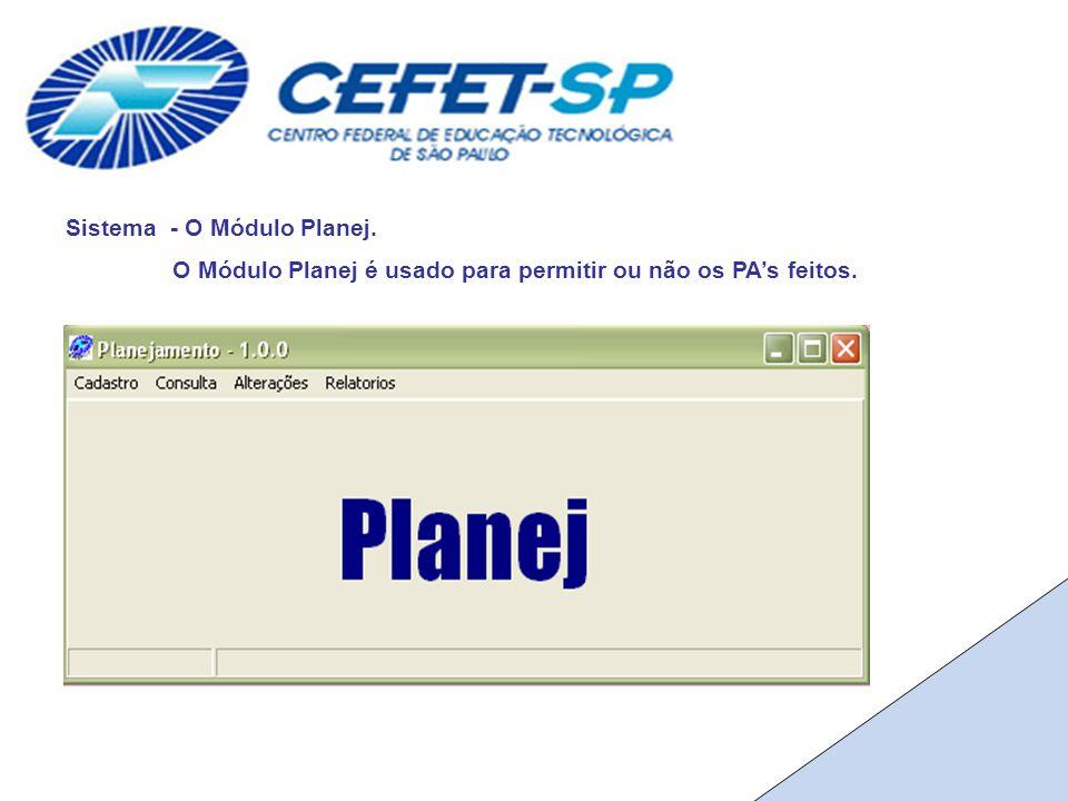 Sistema - O Módulo Planej. O Módulo Planej é usado para permitir ou não os PA's feitos.