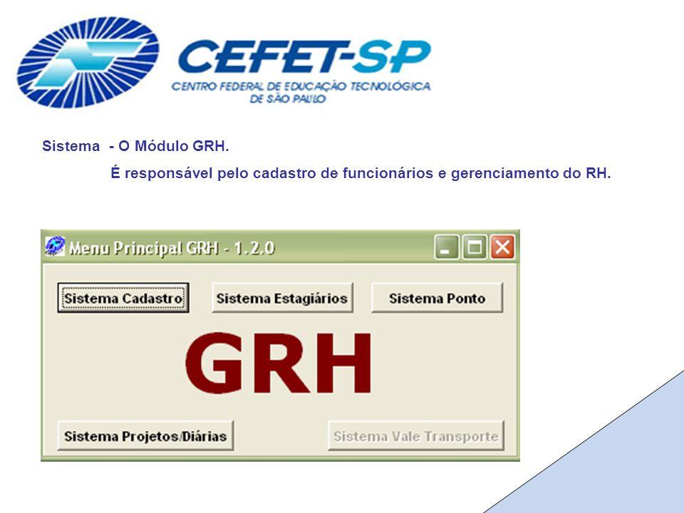 Sistema - O Módulo GRH. É responsável pelo cadastro de funcionários e gerenciamento do RH.