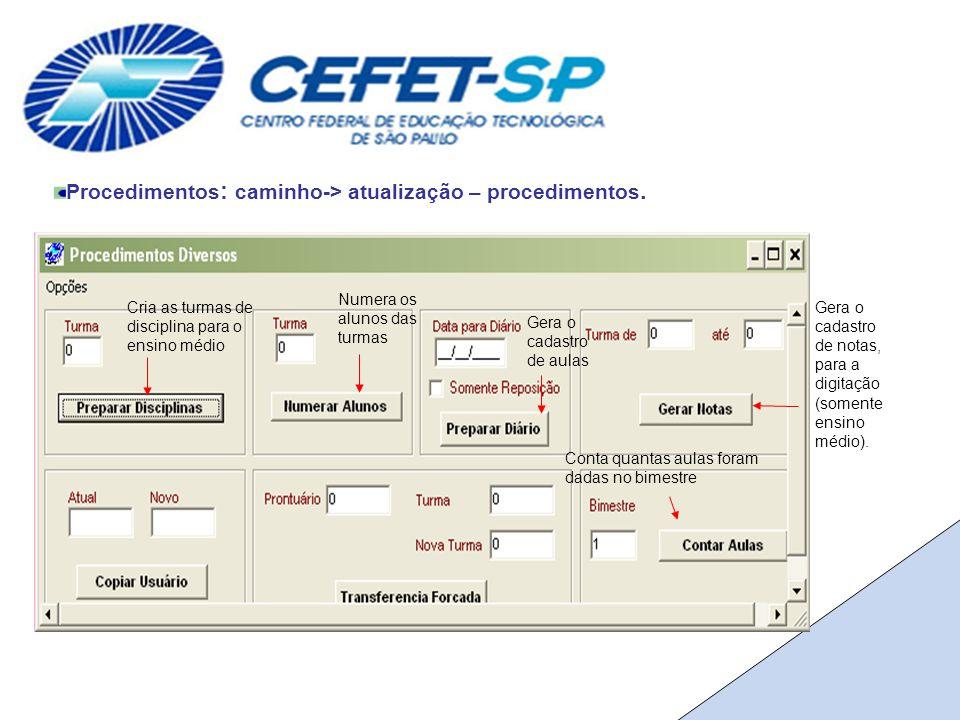 Procedimentos : caminho-> atualização – procedimentos.