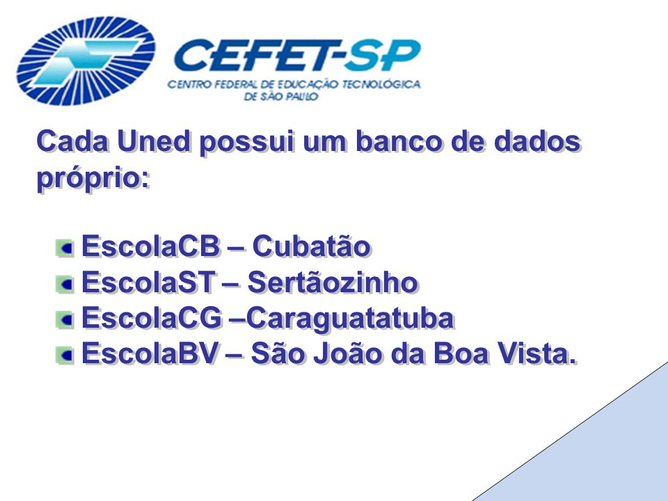 Cada Uned possui um banco de dados próprio: EscolaCB – Cubatão EscolaST – Sertãozinho EscolaCG –Caraguatatuba EscolaBV – São João da Boa Vista.