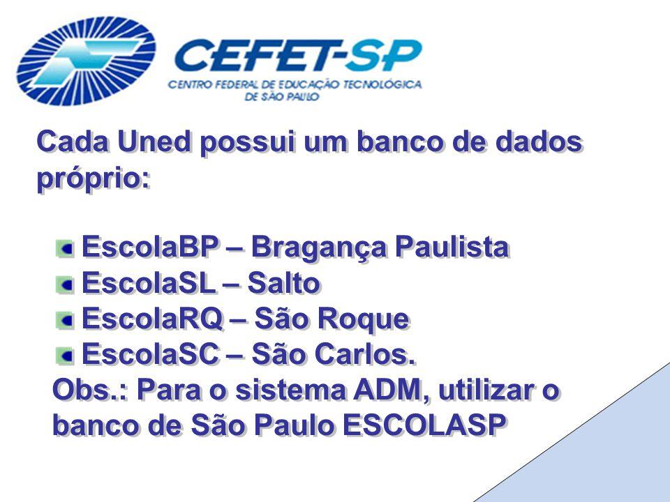 Cada Uned possui um banco de dados próprio: EscolaBP – Bragança Paulista EscolaSL – Salto EscolaRQ – São Roque EscolaSC – São Carlos.