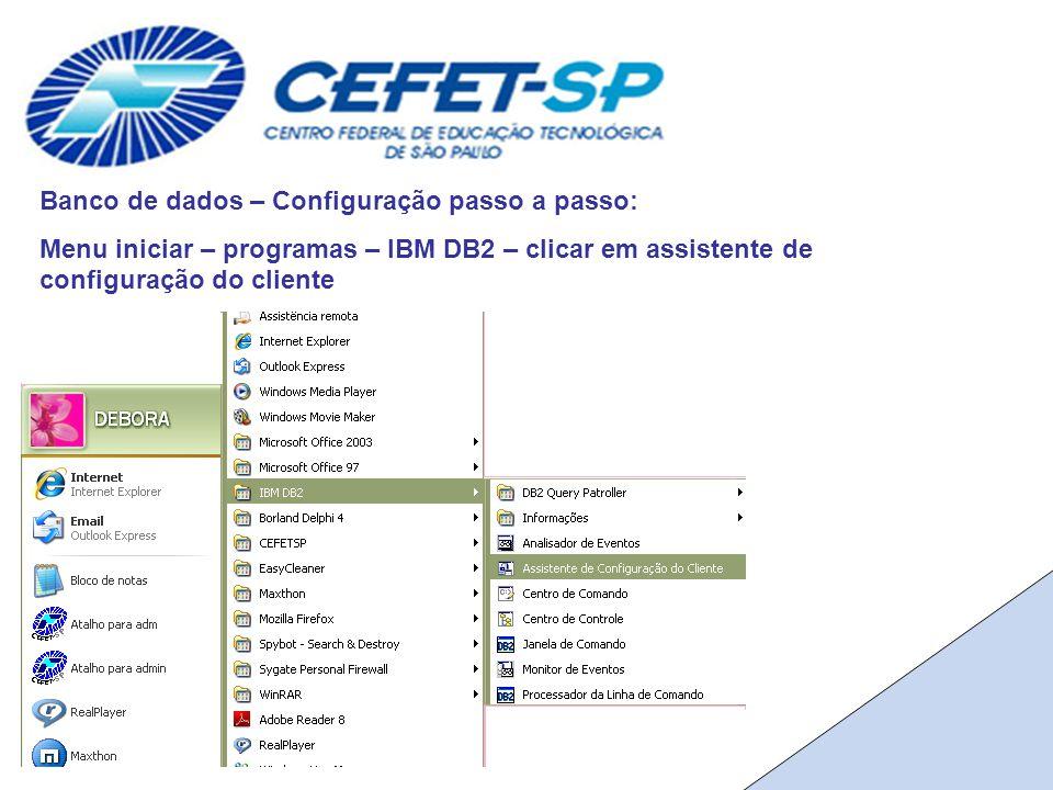 Banco de dados – Configuração passo a passo: Menu iniciar – programas – IBM DB2 – clicar em assistente de configuração do cliente