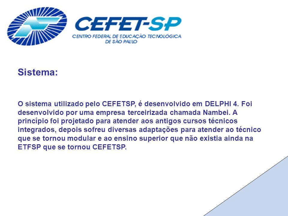 Sistema: O sistema utilizado pelo CEFETSP, é desenvolvido em DELPHI 4.