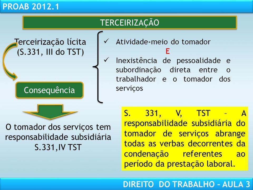 RESPONSABILIDADE CIVIL AULA 1 PROAB 2012.1 DIREITO DO TRABALHO – AULA 3 TERCEIRIZAÇÃO Terceirização lícita (S.331, III do TST) Atividade-meio do tomad
