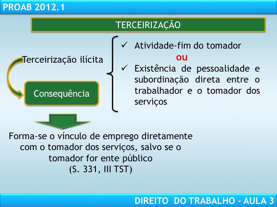 RESPONSABILIDADE CIVIL AULA 1 PROAB 2012.1 DIREITO DO TRABALHO – AULA 3 TERCEIRIZAÇÃO Terceirização ilícita Atividade-fim do tomador ou Existência de